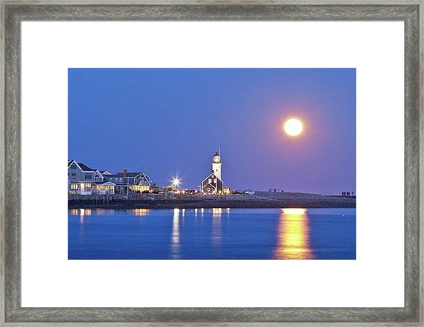 Framed Print featuring the photograph Full Moon Over Scituate Light by Susan Cole Kelly