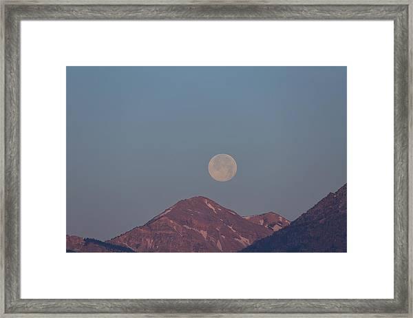 Full Moon Over The Tetons Framed Print