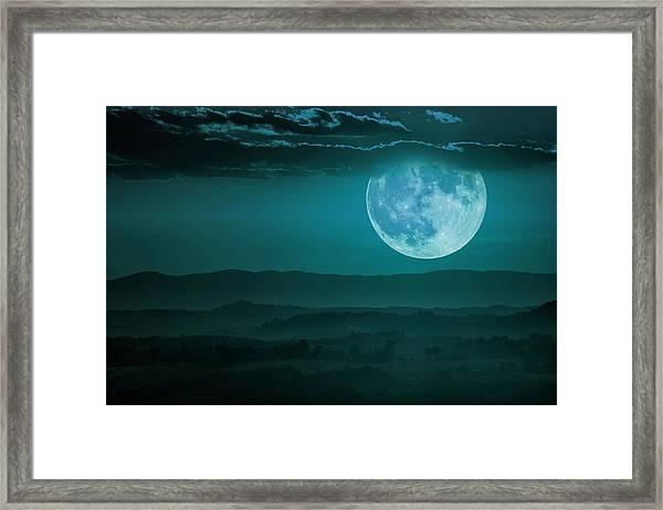 Full Moon Over Tuscany Framed Print