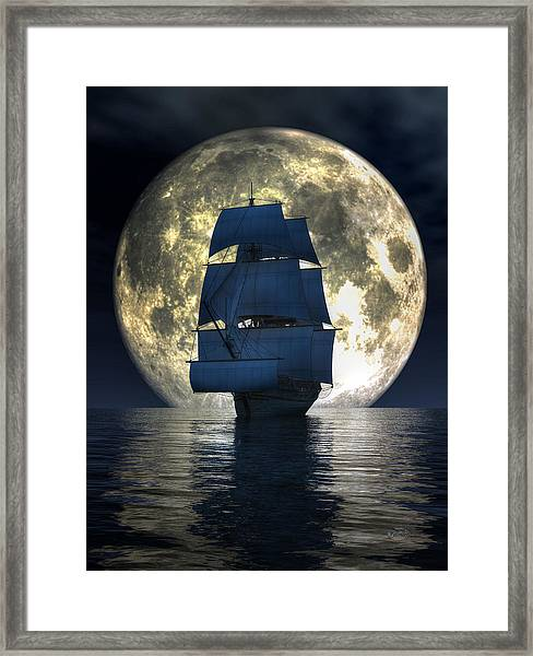 Full Moon Pirates Framed Print