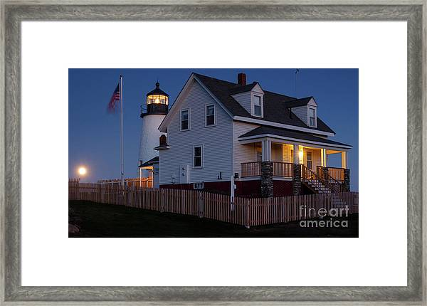 Full Moon Rise At Pemaquid Light, Bristol, Maine -150858 Framed Print