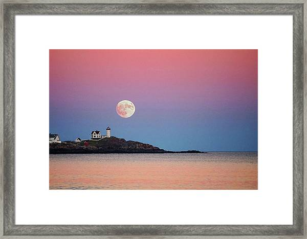 Full Moon Rising At Nubble Light Framed Print