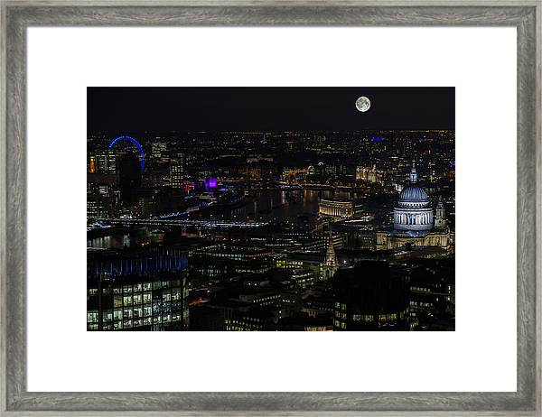 Full Color Moon Rising Over London Skyline  Framed Print