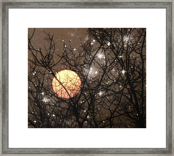 Full Moon Starry Night Framed Print