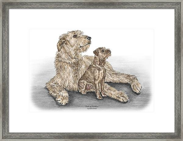 Full Of Promise - Irish Wolfhound Dog Print Color Tinted Framed Print