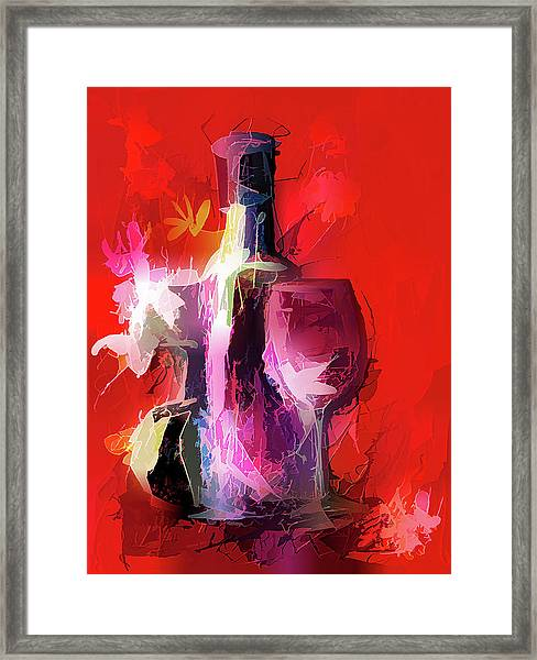 Fun Colorful Modern Wine Art   Framed Print