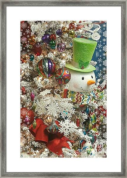 Fun Snowman Holiday Greeting Framed Print