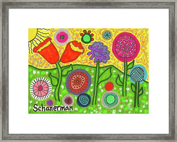 Funky Flowers All In A Row Framed Print