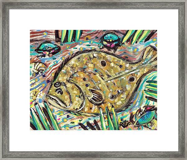 Funky Folk Flounder Framed Print