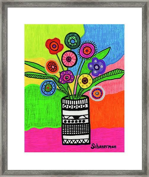 Funky Folk Flowers Framed Print