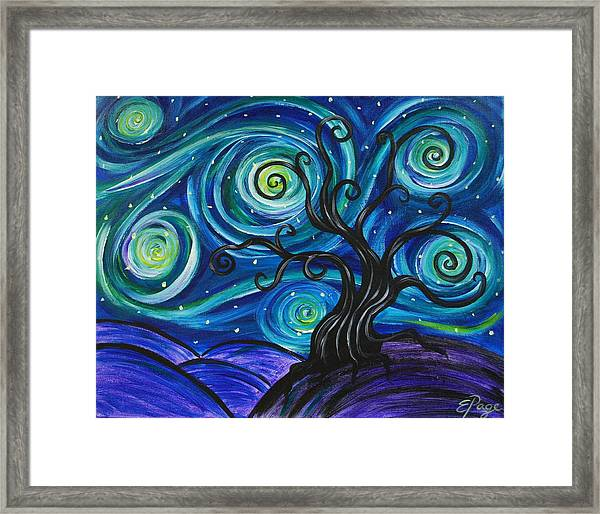 Funky Tree, Starry Night Framed Print