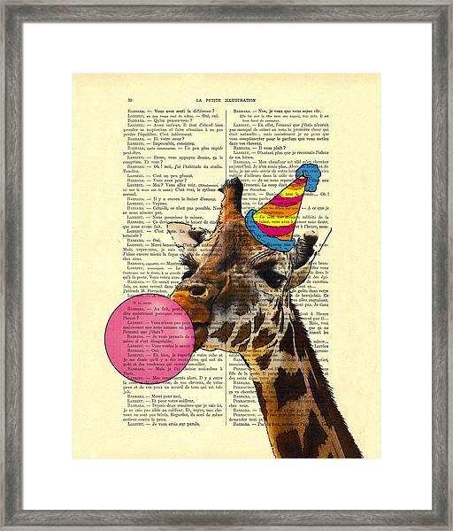 Funny Giraffe, Dictionary Art Framed Print