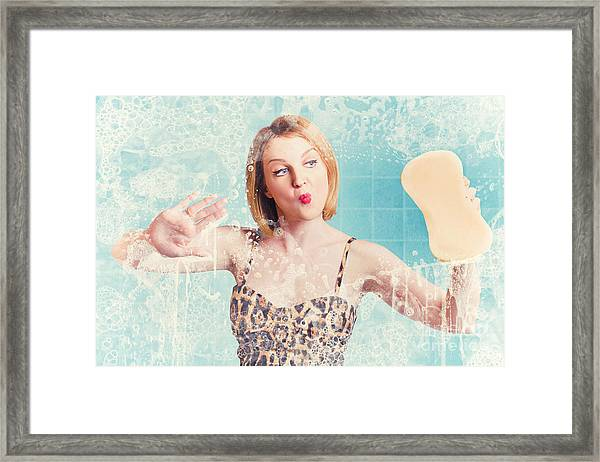 Funny Pin Up Cleaning Woman Washing Bathroom Glass Framed Print