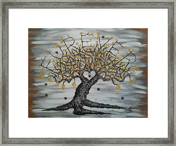 Framed Print featuring the drawing Furever Love Tree W/ Paws by Aaron Bombalicki