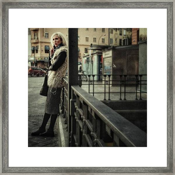 Furry Blondie #woman #portraits Framed Print