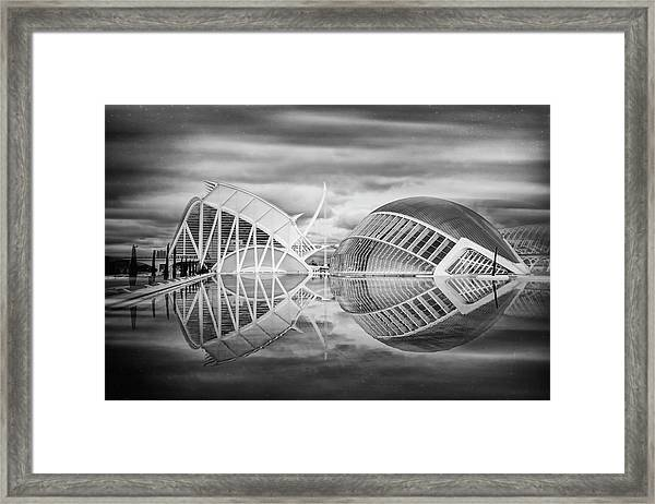 Futuristic Architecture Of Modern Valencia Spain In Black And Wh Framed Print