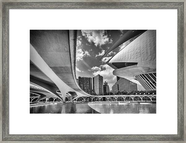 Futuristic Architecture Of Valencia Spain In Black And White  Framed Print