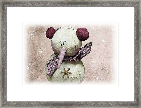 Framed Print featuring the photograph Fuzzy The Snowman by David Dehner