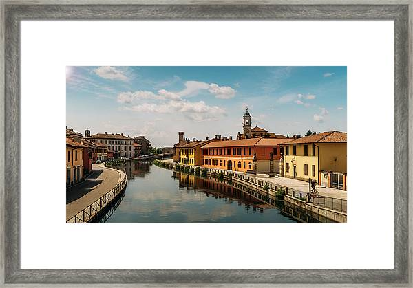 Gaggiano On The Naviglio Grande Canal, Italy Framed Print