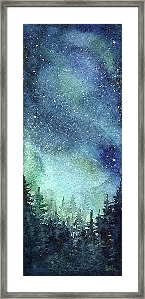 Galaxy Watercolor Aurora Painting Framed Print
