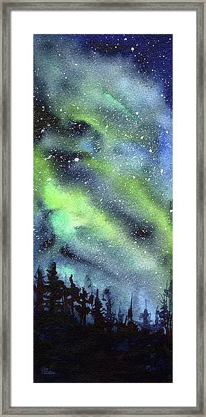 Galaxy Watercolor Nebula Northern Lights Framed Print