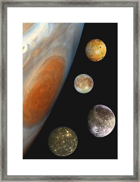 Galilean Moons Of Jupiter Framed Print