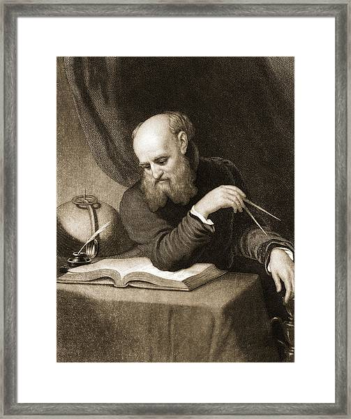 Galileo With Compass And Diagrams Framed Print