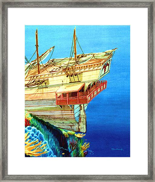 Galleon On The Reef 2 Filtered Framed Print