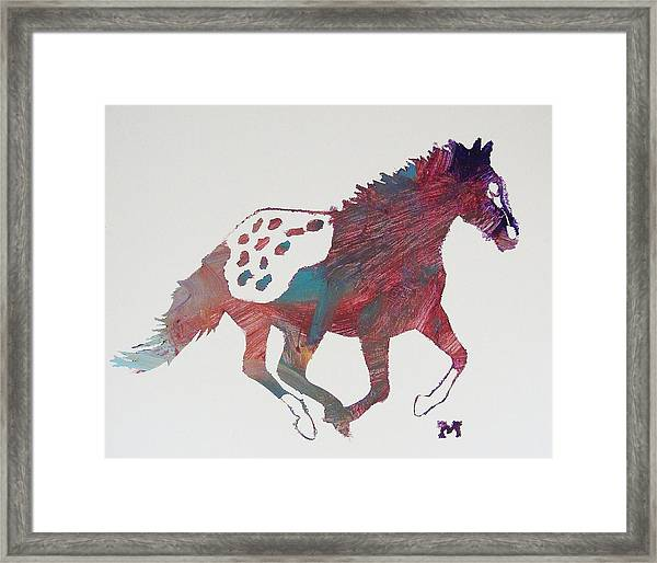 Framed Print featuring the painting Galloping Apaloosa by Candace Shrope