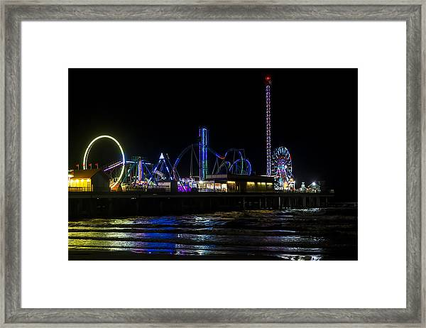 Galveston Island Historic Pleasure Pier At Night Framed Print