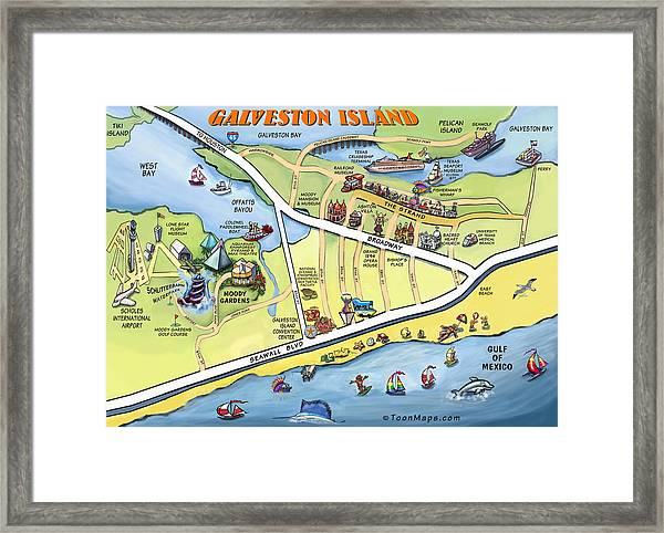 Galveston Texas Cartoon Map Framed Print