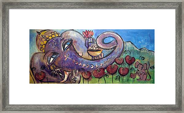 Ganesha With Poppies Framed Print