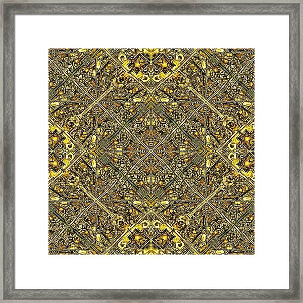 Ganw - Golden Aztec Navajo Wall Framed Print