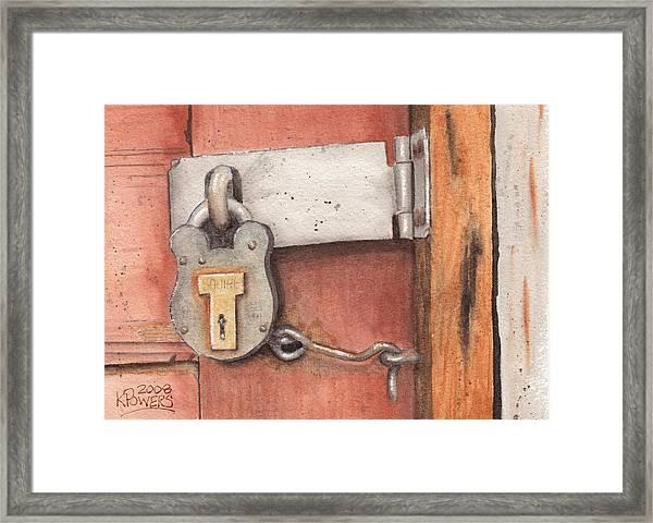 Garage Lock Number Four Framed Print