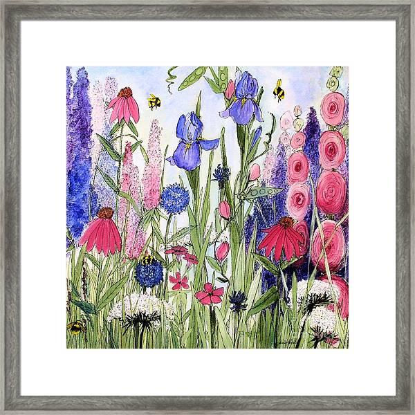 Garden Cottage Iris And Hollyhock Framed Print
