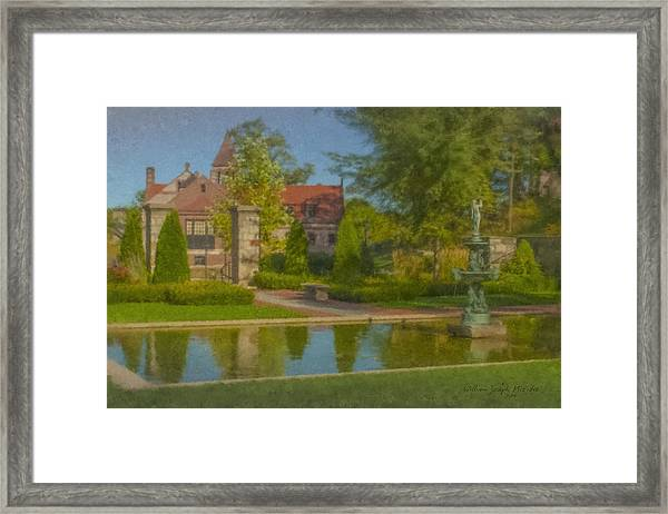 Garden Fountain At Ames Free Library Framed Print
