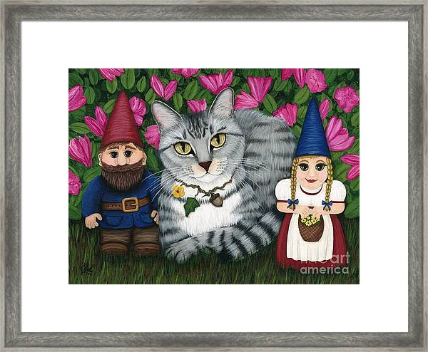 Garden Friends - Tabby Cat And Gnomes Framed Print