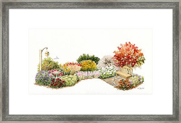 Garden Wild Flowers Watercolor Framed Print