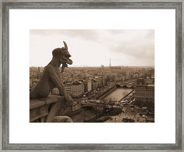 Gargoyle Looking Over Paris Framed Print