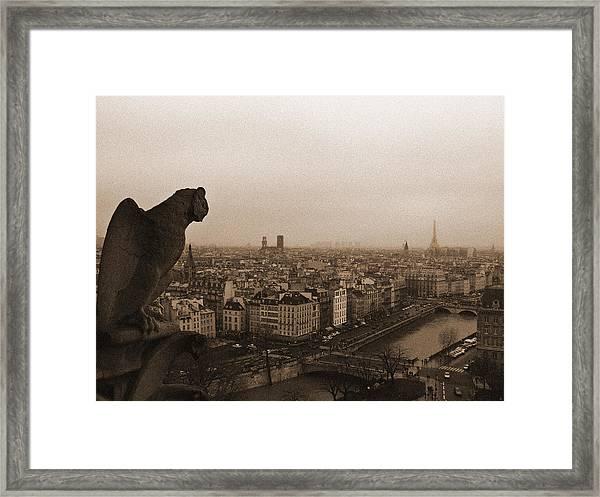 Gargoyle Over Paris Framed Print