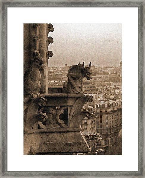 Gargoyles Of Notre Dame Framed Print