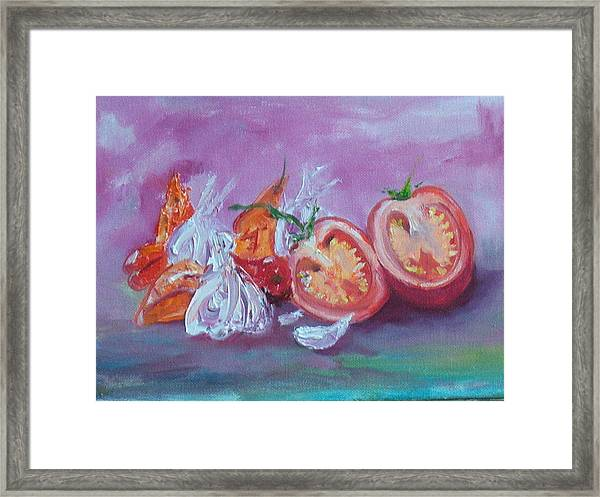Garlic And Tomato  Framed Print