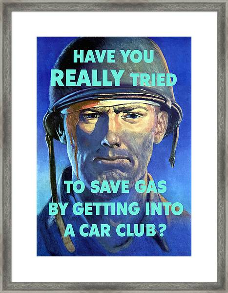 Gas Conservation Ww2 Poster Framed Print