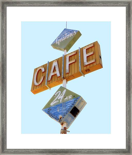 Framed Print featuring the photograph Gaston's Cafe Neon Sign by Gigi Ebert