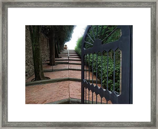Gate To Castello Vichiamaggio Framed Print