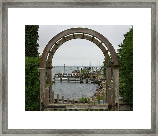 Gate To Noank Harbor Framed Print