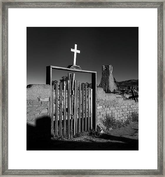 Gate With Cross Framed Print