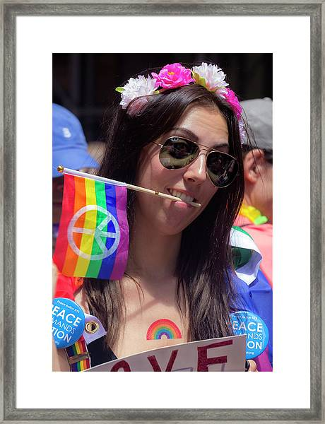 Gay Pride 2017 Nyc Sunglasses And Peace Flag Framed Print by Robert Ullmann