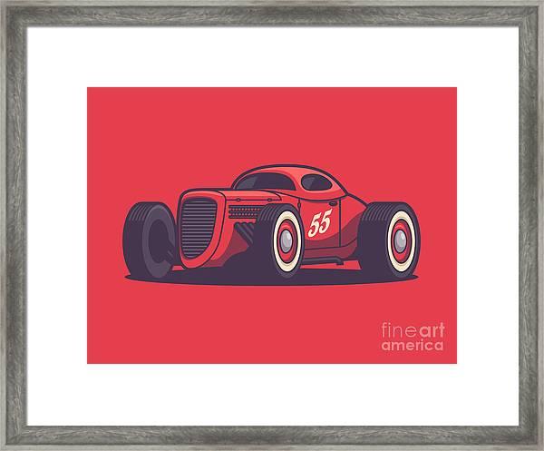 Gaz Gl1 Custom Vintage Hot Rod Classic Street Racer Car - Red Framed Print
