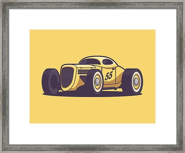 Gaz Gl1 Custom Vintage Hot Rod Classic Street Racer Car - Yellow Framed Print